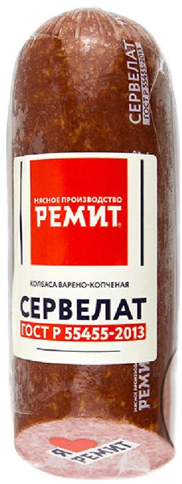 Ремит Колбаса Сервелат варено-копченая ГОСТ, срез, 400 г дымов сервелат варено копченый 330 г