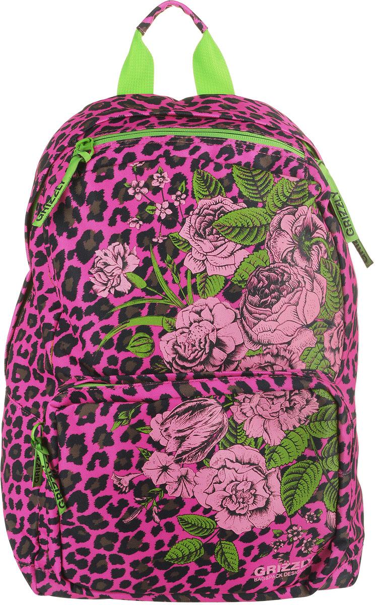 Рюкзак городской Grizzly, цвет: фуксия, леопардовый. RD-830-1/4 рюкзак городской женский grizzly цвет хаки 16 л rd 533 1 4