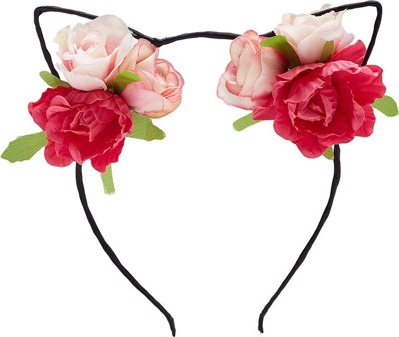 Ободок для волос Nothing but Love, цвет: розовый, бледно-розовый, черный. 203627203627Разнообразные ободки и обручи - бесспорный must-have 2018 модного сезона. Стильный и практичный аксессуар идеально подходит к любой прическе и стрижке, а также сделает ваш образ более необычным. Многие дизайнеры экспериментируют с подобными украшениями, например Эли Сааб, Стефано Габбана и Мара Хоффман.Основа ободка с милыми кошачьими ушками металлическая, она идеально повторяет форму головы и отлично держит волосы. Ее ширина - 5 мм.Лента из мягкой ткани охватывает ободок по спирали, что делает аксессуар очень комфортным в носке. Высота ушек 5 см, ширина - 4,5 см. Они декорированы объемными розами размером 3,5?3,5 см. Цветы закреплены надежно и аккуратно. Несмотря на массивность, аксессуар достаточно легкий. Он весит всего 22 грамма и практически не ощутим на теле.