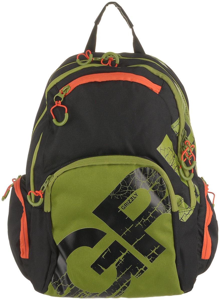 Рюкзак городской Grizzly, цвет: черный, оливковый. RU-815-1/1RU-815-1/1Рюкзак молодежный, два отделения, карман на молнии на передней стенке, объемный карман на молнии на передней стенке, объемные боковые карманы на молнии, внутренний карман-пенал для карандашей, внутренний карман под гаджет и карман на молнии, жесткая анатомическая спинка, дополнительная ручка-петля, укрепленные лямки.