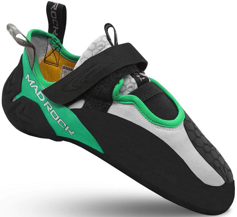 Скальники Mad Rock Drone LV, цвет: желтый, зеленый. Размер 11 (45)Drone LVУ скальников Mad Rock Drone HV колодка на широкую ногу, 3D литая пятка, изменена, по сравнению с Shark, позволяет как накатывать, так и подцеплять меленькую зацепку. 3D литая деталь пятки имеет с боков прорези, позволяющие одеть скальник на пятку более плотно. Застежки-липучки ламинированы сверху, а не прошиты, что позволяет отрезать лишнее, подгоняя под удобную длину. Основа скальных туфель сделана из одного куска материала, который при производстве натягивается и скручивается восьмеркой, что придает дополнительную жесткость в средней части скальника. При этом достигается дополнительная агрессивность подошвы. По сравнению с Shark, Dron посажен на новую колодку и получил форму носка более смещенную к большому пальцу. Язычок мягкий и тянущийся для большего комфорта. Рекомендуется выбирать размер равный размеру вашей обуви для улицы.Назначение: Скальники для боулдеринга, сложности , соревнований, тренировок, лазания по скалам.Материал верха: ЭластичныйЗастежка: Одна липучкаЖесткость: СредняяПодошва: Science Friction 3.0Резина подошвы: Science Friction R2Пятка: 3D Hooking HeelОсобенности модели: 3D литая деталь пятки имеет с боков прорези, позволяющие одеть скальник на пятку более плотно.Толщина ранта: Резина R2 2.4 ммФорма колодки: АссиметричнаяВес пары: 238 гр. (US р.9).Как выбрать скальные туфли. Выбрать скальные туфли очень непросто и этот выбор значительно отличается от выбора повседневных туфель. Скальники должны очень плотно прилегать к ноге - не должно быть свободного места. При выборе скальных туфель ориентируйтесь на свой обычный размер обуви, выбирая при этом скальники на полразмера или на один размер меньше. Это создает плотное прилегание обуви к ноге. Обратите внимание на положение Ваших стоп, когда одеваете скальные туфли - стопа должна быть опущена вниз. Примерьте также скальники на шнуровке и на липучке и, возможно, Вы отдадите предпочтение тем или другим. Скальники на шнурках поз