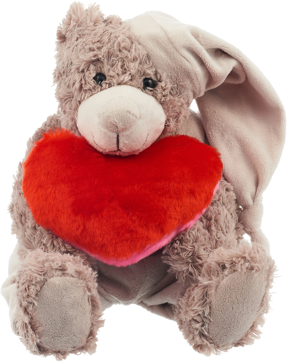 Magic Bear Toys Мягкая игрушка Мишка Патрик в шапке с сердцем 25 см цвет серый - Мягкие игрушки