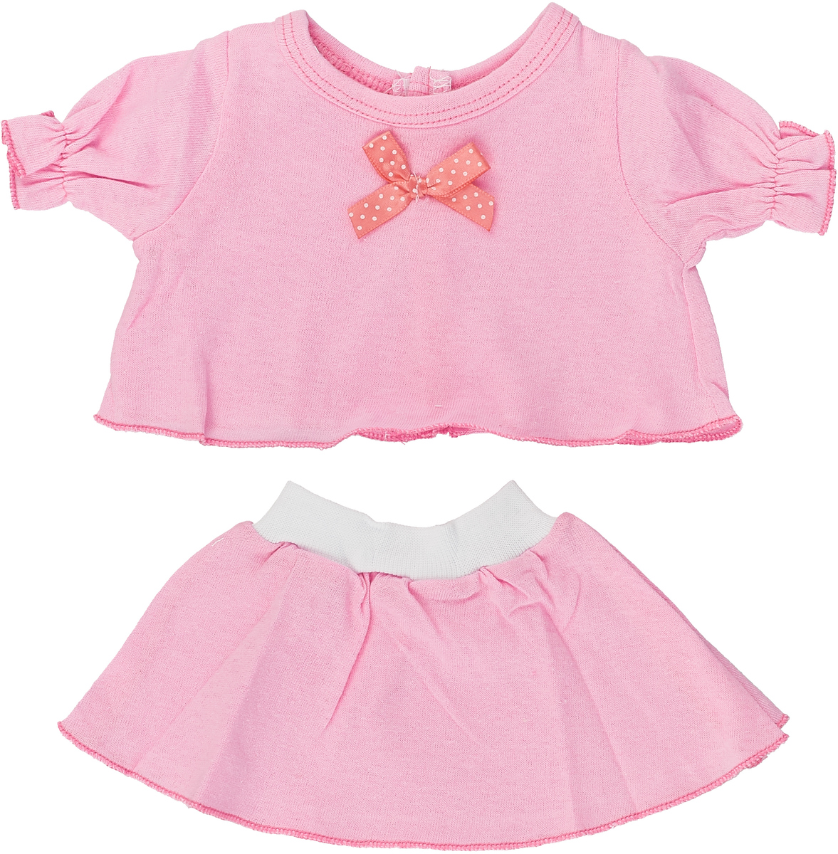 Карапуз Комплект одежды для куклы Футболка и юбка цвет розовый куклы и одежда для кукол карапуз принцесса софия 25 см