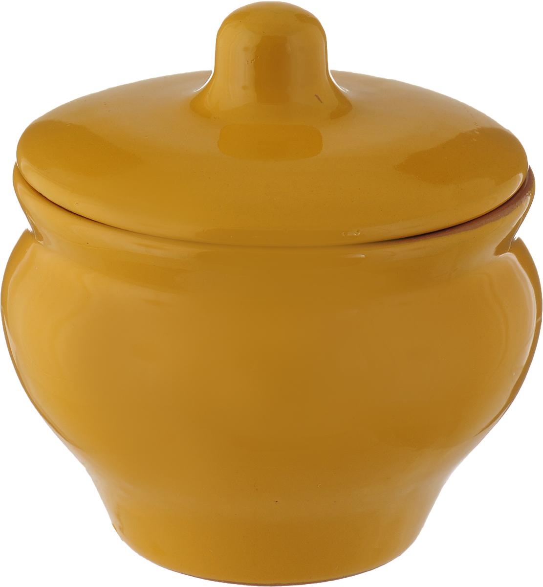 Горшочек для запекания Борисовская керамика Мечта хозяйки, цвет: темно-желтый, 350 мл горшочек для жаркого борисовская керамика русский мрамор