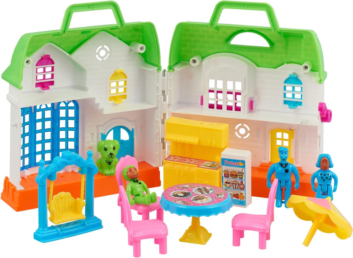 ABtoysДом для кукол В гостях у куклы с мебелью и человечками цвет салатовый ABtoys