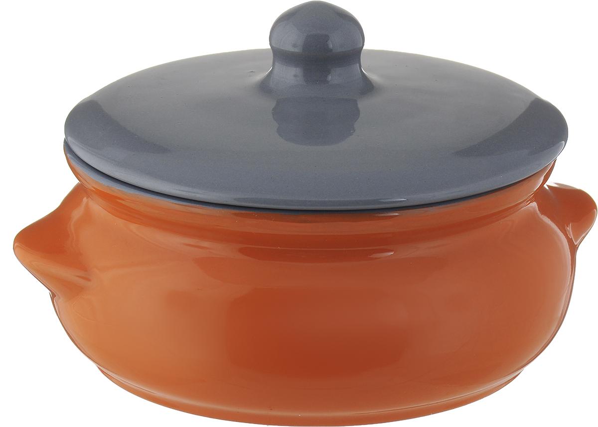 """Горшок для запекания Борисовская керамика """"Радуга"""", с крышкой, цвет: оранжевый, серый, 700 мл"""