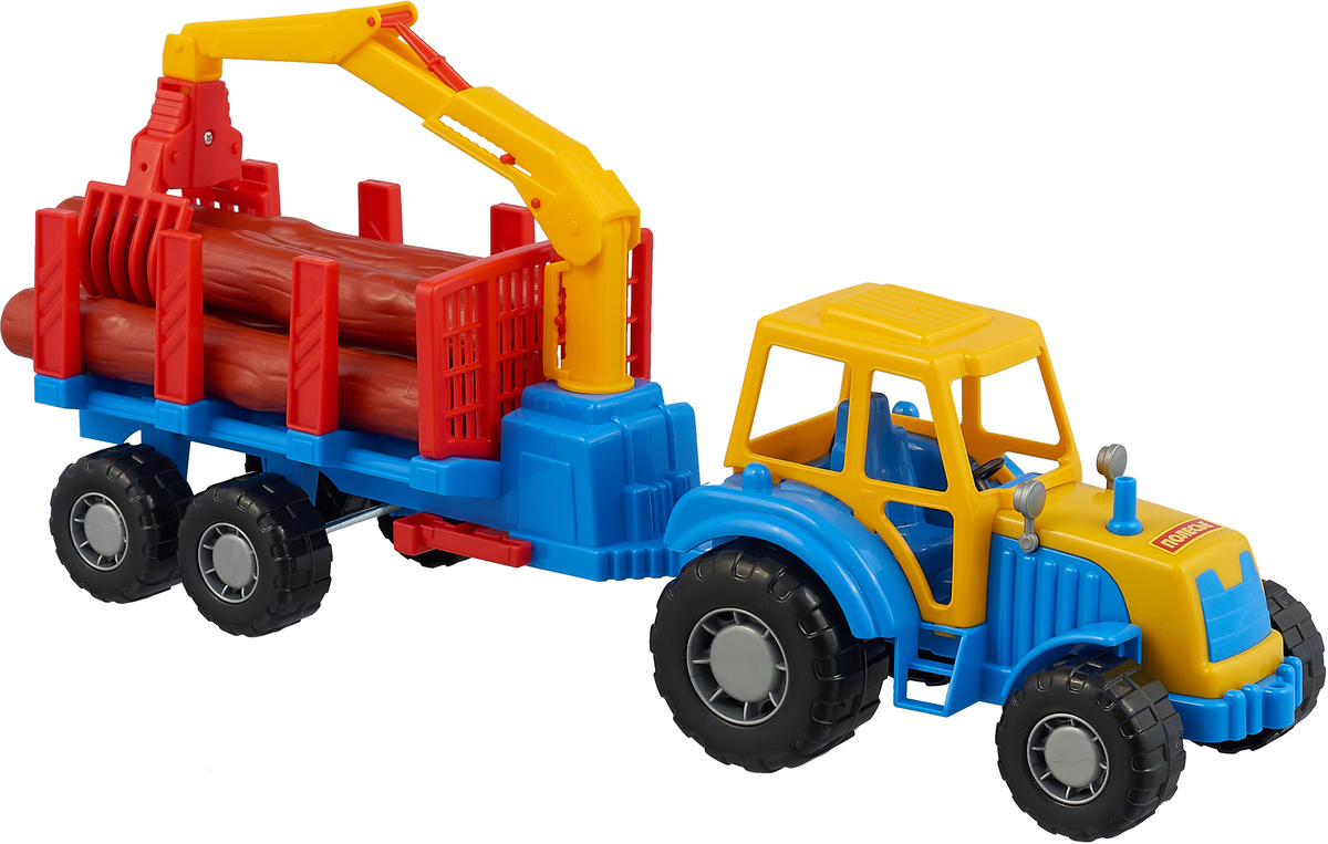 Полесье Трактор Мастер с полуприцепом-лесовозом цвет синий желтый красный