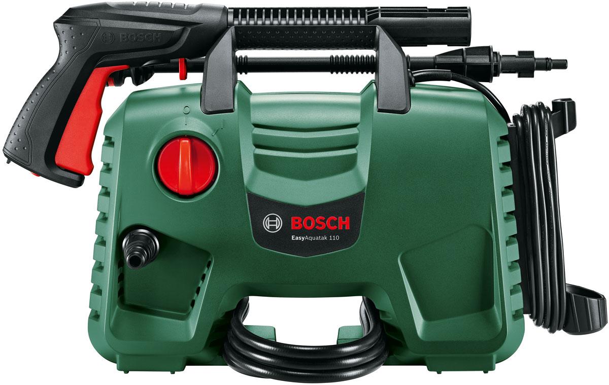 Новая минимойка Bosch EasyAquatak 100 - ваш компактный помощник по очистке дома, сада и транспорта!  Высокопроизводительный насос – для быстрой и эффективной очистки  Компактный портативный дизайн с широким основанием, обеспечивающим исключительную устойчивость и хранение принадлежностей  Простое быстроразъемное соединение для ускоренного и легкого переоснащения  В комплект входят распылительные и роторные насадки для глубокой очистки  Насадка-пенообразователь сокращает длительность очистки за счет быстрого нанесения мыльного раствора  Готовность к работе сразу после распаковки, нет необходимости в сборке пользователем Обзор технических характеристик:  Мощность двигателя: 1.300 W  Макс. давление: 110 бар  Макс. производительность: 330 л/ч  Макс. температура используемой воды: 40 °C  Производительность самовсасывания: 0,5 м  Тип насоса: 3 цилиндра  Длина кабеля: 5 м  Длина шланга: 3 м (ПВХ)  Вес (без принадлежностей): 3.8 кг  Катушка для шланга: ручн.  Комплектация:  Пистолет-пульверизатор Bosch  Шланг высокого давления 3 м  Насадка для нанесения моющего средства под высоким давлением, 450 мл  Водяной фильтр  Поворотная насадка  Регулируемая распылительная насадка  Трубка