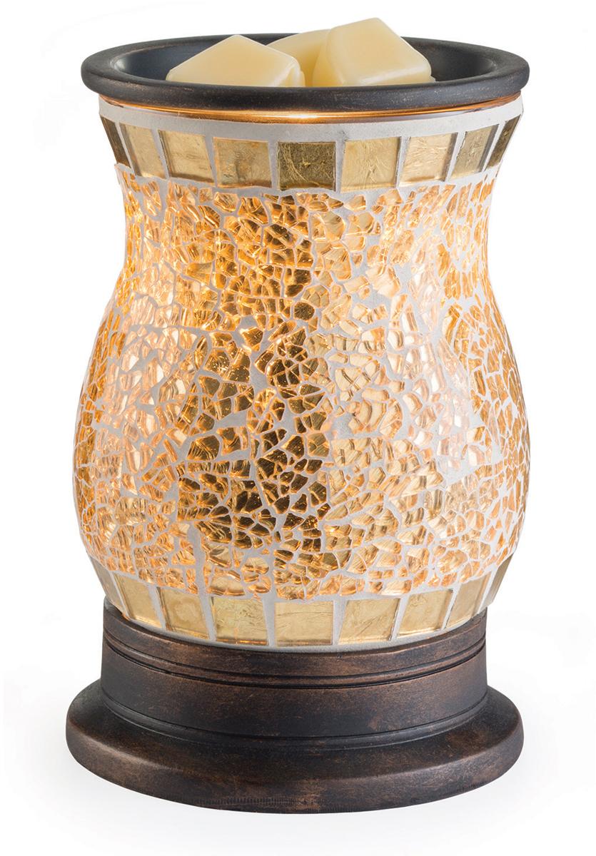 Аромасветильник настольный Candle Warmers.   Красивый светильник, с помощью которого можно не только создать уютную атмосферу, но и ароматизировать помещение. Для ароматизации, просто добавьте воск, включите, и наслаждайтесь вашим любимым ароматом в комнате.  Поверхность стеклянной золотой мозаики яркого светиться и сверканет при включении аромасветильника.