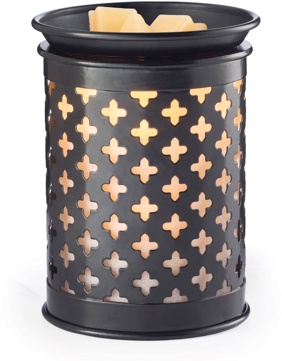 Аромасветильник настольный Candle Warmers.  Красивый светильник, с помощью которого можно не только создать уютную атмосферу, но и ароматизировать помещение. Для ароматизации, просто добавьте воск, включите, и наслаждайтесь вашим любимым ароматом в комнате. Аромасветильник черный металлический фонарь украшен четырехлистниками.