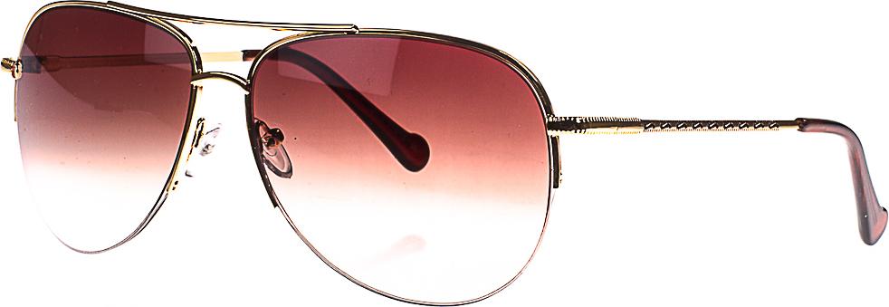 Очки солнцезащитные женские, цвет: золотистый, коричневый. 1803-7009_7