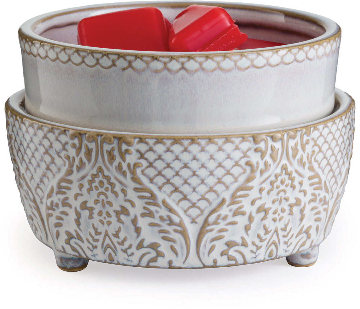 Керамический воскоплав Candle Warmers используйте для декора, а также для ароматизации помещения.  Снимите крышку, и поставить свечу на нагревающий элемент для нагрева и ароматизации.  Либо используйте ароматический воск для ароматизации помещения.  При ослаблении аромата, жидкий воск можно вылить, и свеча зазвучит по новому.  Прекрасно подойдёт для безопасного использования.   Керамический воскоплав белый винтаж: рисунок старинных обоев в глазури и мягкие фестоны объединяются, чтобы сделать ваш любимый аромат ярче и теплее.   Подойдёт диаметр свечи 10 см.   Элегантный домашний декор будет находится всегда в центре внимания каждого интерьера.