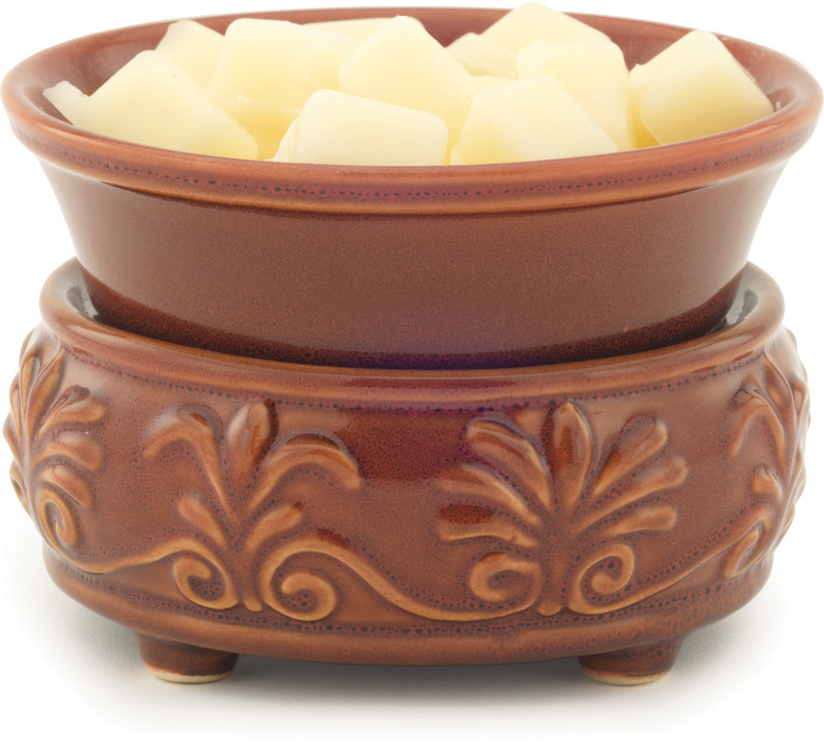 Керамический воскоплав Candle Warmers используйте для декора, а также для ароматизации помещения.  Снимите крышку, и поставить свечу на нагревающий элемент для нагрева и ароматизации.   Либо используйте ароматический воск для ароматизации помещения.  При ослаблении аромата, жидкий воск можно вылить, и свеча зазвучит по новому.   Прекрасно подойдёт для безопасного использования.    Керамический воскоплав красный камень: цвет красной скалы украшенный узором Флер-де-Лис (королевская лилия) и пальметты.   Подойдёт диаметр свечи 10 см.    Элегантный домашний декор будет находится всегда в центре внимания каждого интерьера.