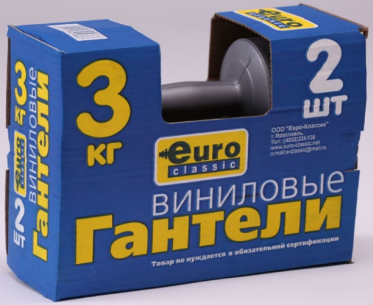 Гантель для фитнеса Euro Classic, 3 кг, 2 шт m1303 500 euro 500r 1k 3 multiturn wirewound potentiometers