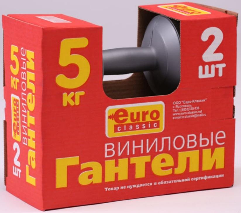 Гантель для фитнеса Euro Classic, 5 кг, 2 шт