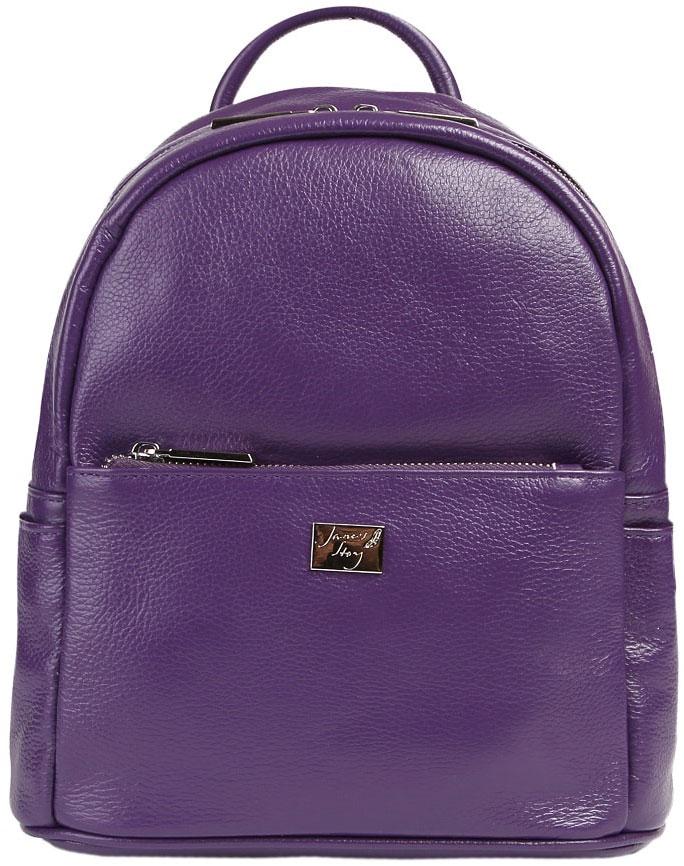 Рюкзак женский Janes Story, цвет: фиолетовый. JX-6003-74JX-6003-74Стильный рюкзак из натуральной зернистой кожи с элегантной фурнитурой серебристого цвета. Основное отделение на молнии. Выделены карманы: внутри - два открытых и один потайной, на лицевой стороне - один. Лямки рюкзака регулируются по размеру. С обратной стороны расположена дополнительная секция.