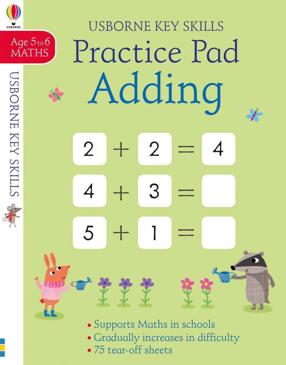 Adding practice pad 5-6 the usborne terrific colouring and sticker book