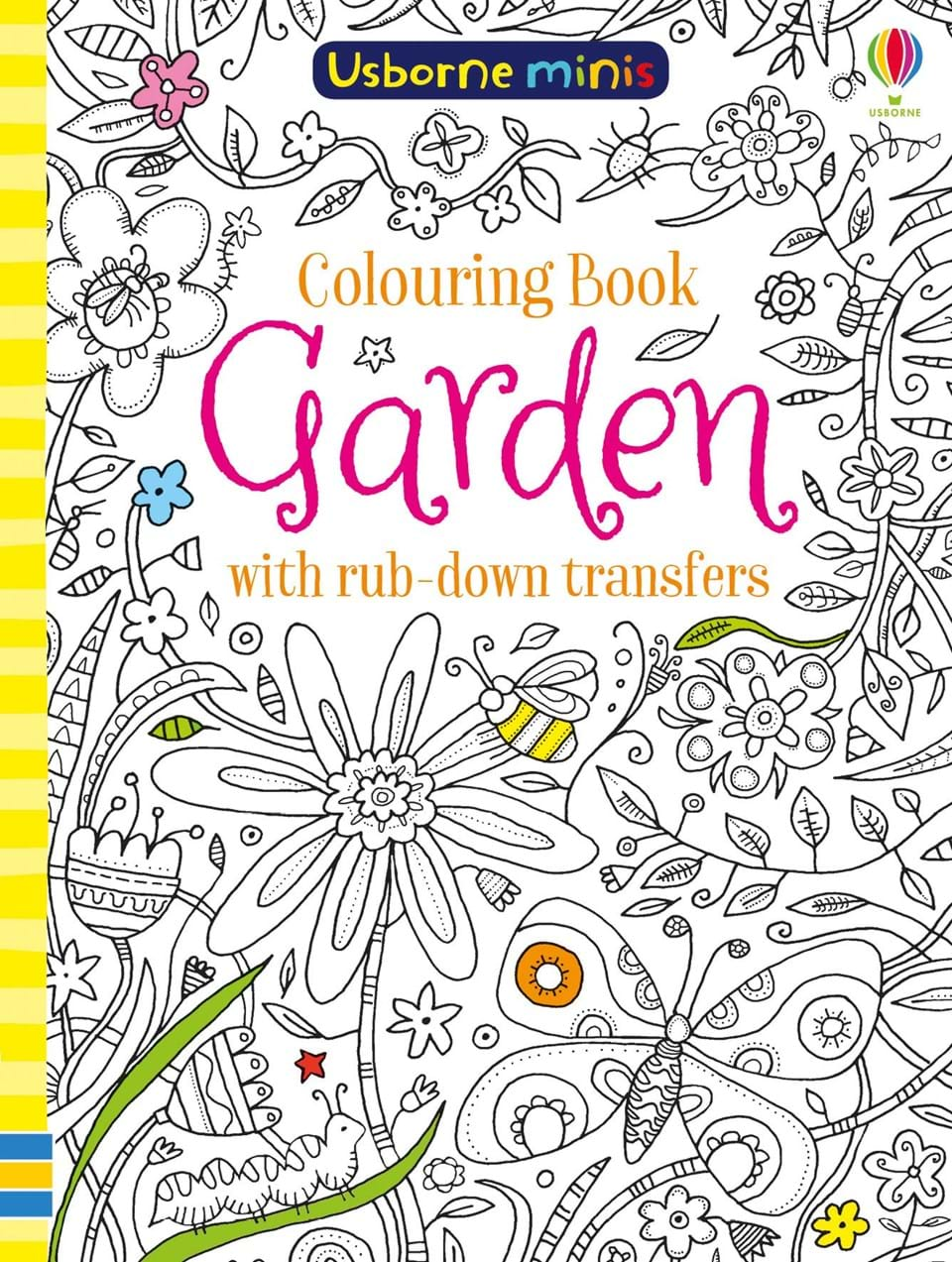Colouring book garden with rub-down transfers the usborne terrific colouring and sticker book