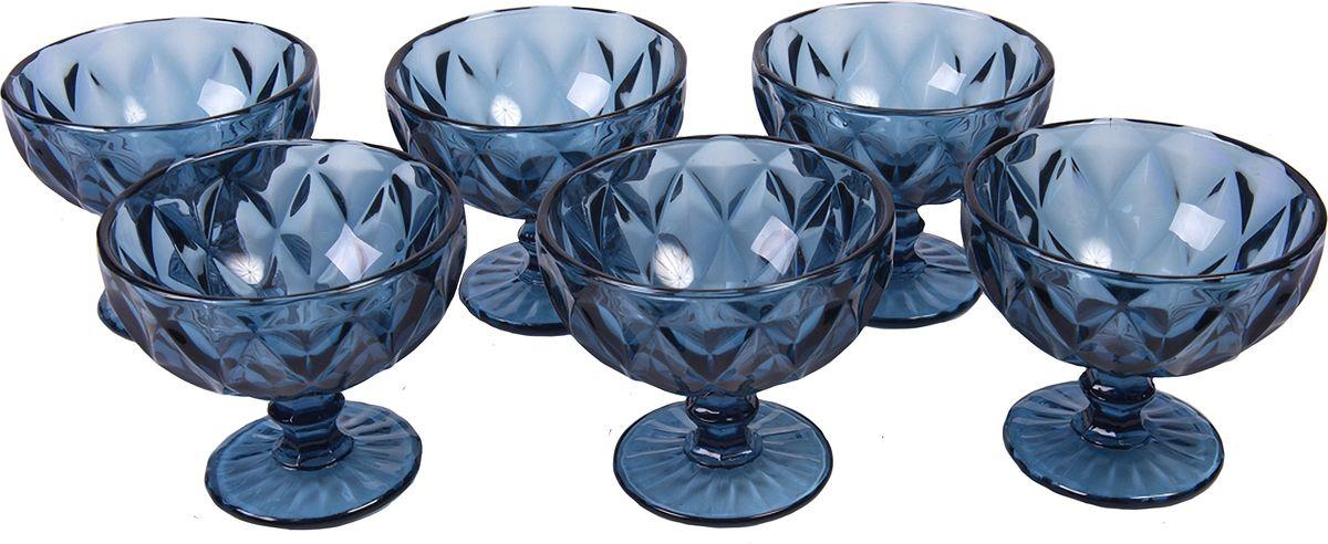 Набор креманок Magic Home Стекло в цвете, цвет: синий, 180 мл, 6 шт набор креманок buffet цвет прозрачный черный 200 мл 6 шт
