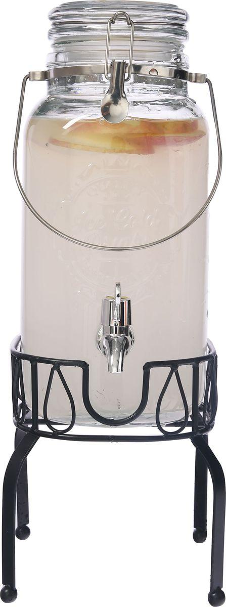 Емкость для напитков Magic Home Лето в бокале, с крышкой, цвет: прозрачный, 3,5 л76378Емкость для холодных напитков, из стекла со стеклянной крышкой с металлической ручкой, с бугельным замком из нержавеющей стали,краном из АБС пластика, на подставке из черного металла объем 3,5 литра. Хранить в сухом, защищенном от влаги месте. Не мыть в посудомоечной машине. Не использовать при мытье агрессивные моющие средства и жесткие губки.