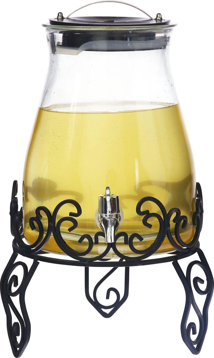 Емкость для холодных напитков, из стекла с крышкой из полипропилена, ручкой из нержавеющей стали, краном из АБС пластика, на подставке из черного металла, объем 4,8 литра. Хранить в сухом, защищенном от влаги месте. Не мыть в посудомоечной машине. Не использовать при мытье агрессивные моющие средства и жесткие губки.