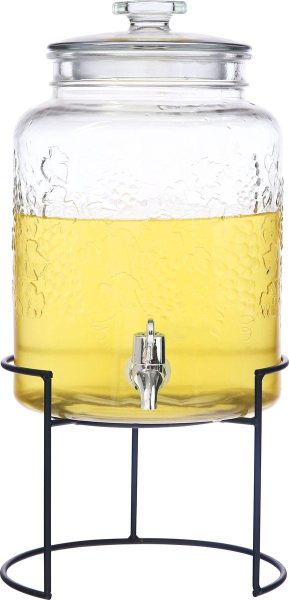 Емкость для холодных напитков, из стекла со стеклянной крышкой,краном из АБС пластика, на подставке из черного металла, объем 5 литров. Хранить в сухом, защищенном от влаги месте. Не мыть в посудомоечной машине. Не использовать при мытье агрессивные моющие средства и жесткие губки.