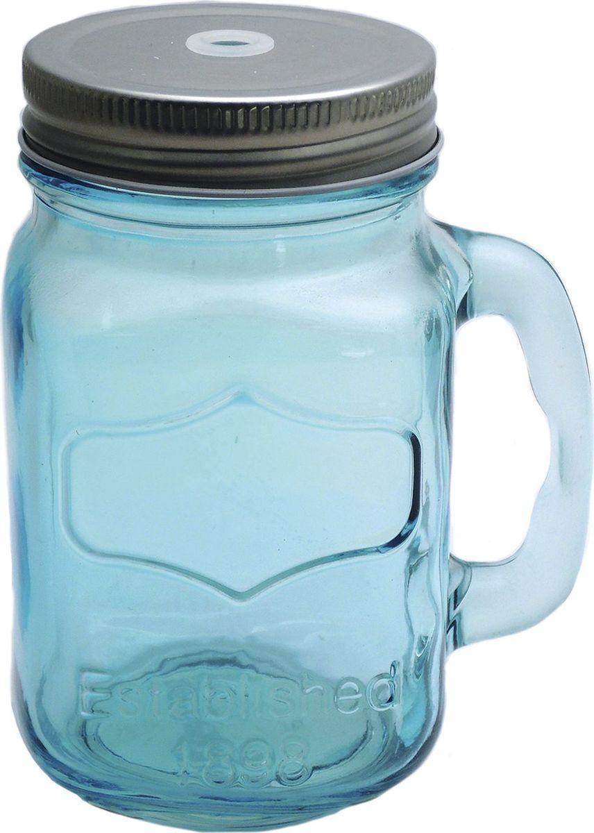 Кружка для холодных напитков Голубая, из стекла с крышкой из луженой стали, 450мл. Хранить в сухом, защищенном от влаги месте. Не мыть в посудомоечной машине. Не использовать при мытье агрессивные моющие средства и жесткие губки.