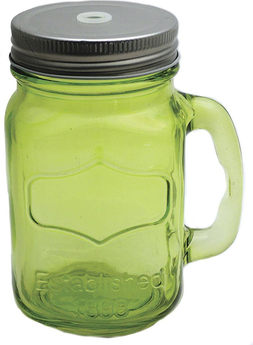 Кружка для холодных напитков Зеленая, из стекла с крышкой из луженой стали, 450мл. Хранить в сухом, защищенном от влаги месте. Не мыть в посудомоечной машине. Не использовать при мытье агрессивные моющие средства и жесткие губки.