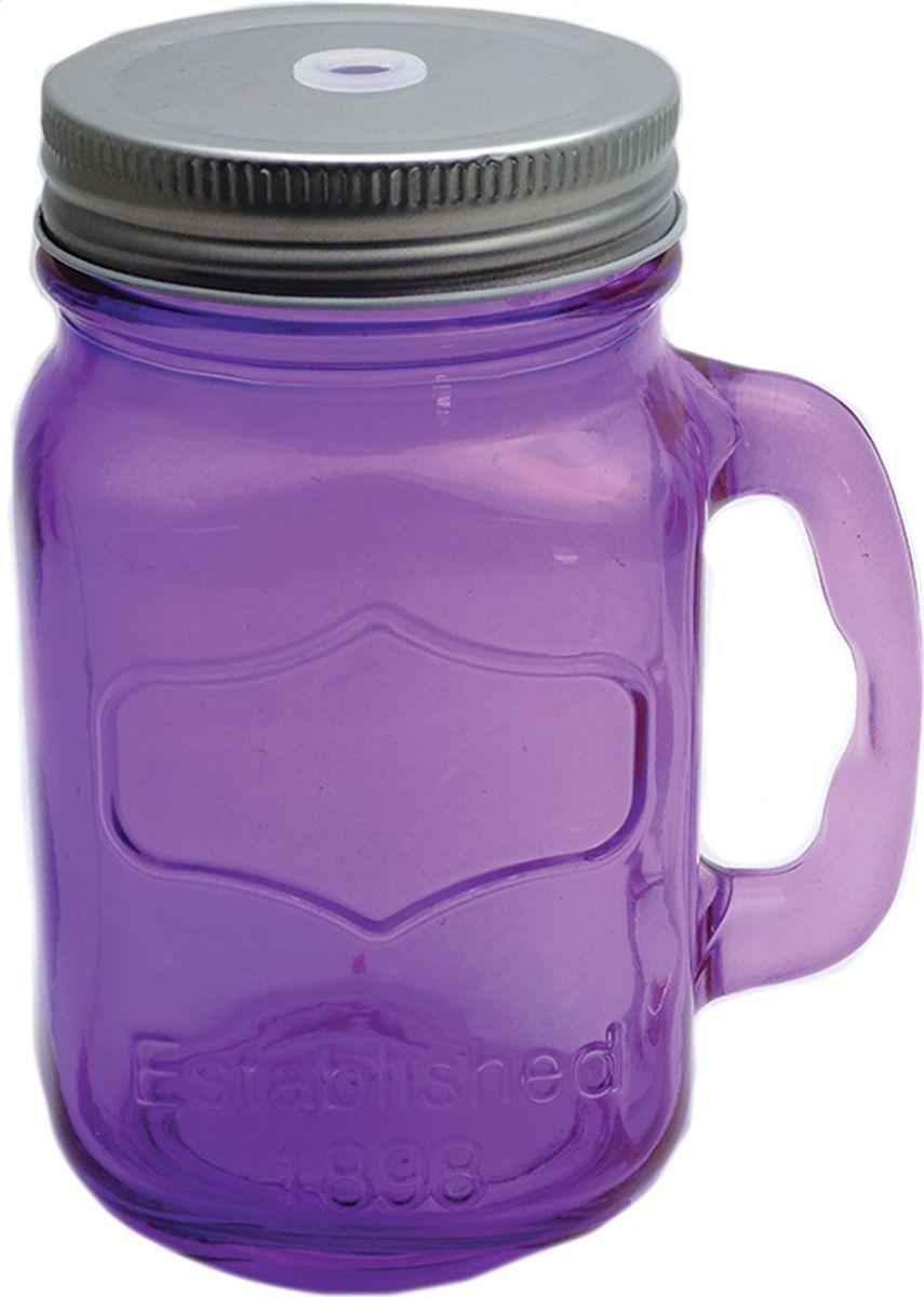 Кружка для холодных напитков Фиолетовая, из стекла с крышкой из луженой стали, 450мл. Хранить в сухом, защищенном от влаги месте. Не мыть в посудомоечной машине. Не использовать при мытье агрессивные моющие средства и жесткие губки.