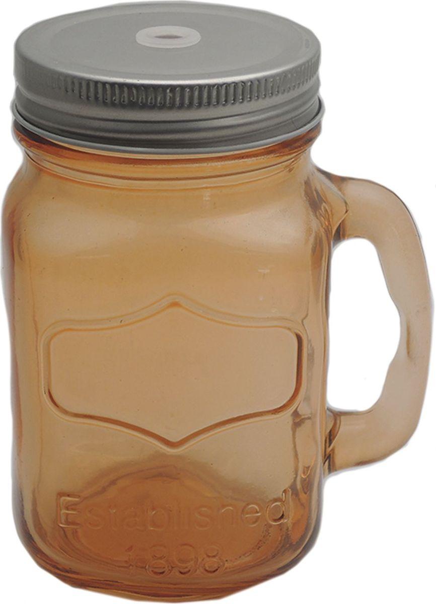 Кружка для холодных напитков Оранжевая, из стекла с крышкой из луженой стали, 450мл. Хранить в сухом, защищенном от влаги месте. Не мыть в посудомоечной машине. Не использовать при мытье агрессивные моющие средства и жесткие губки.