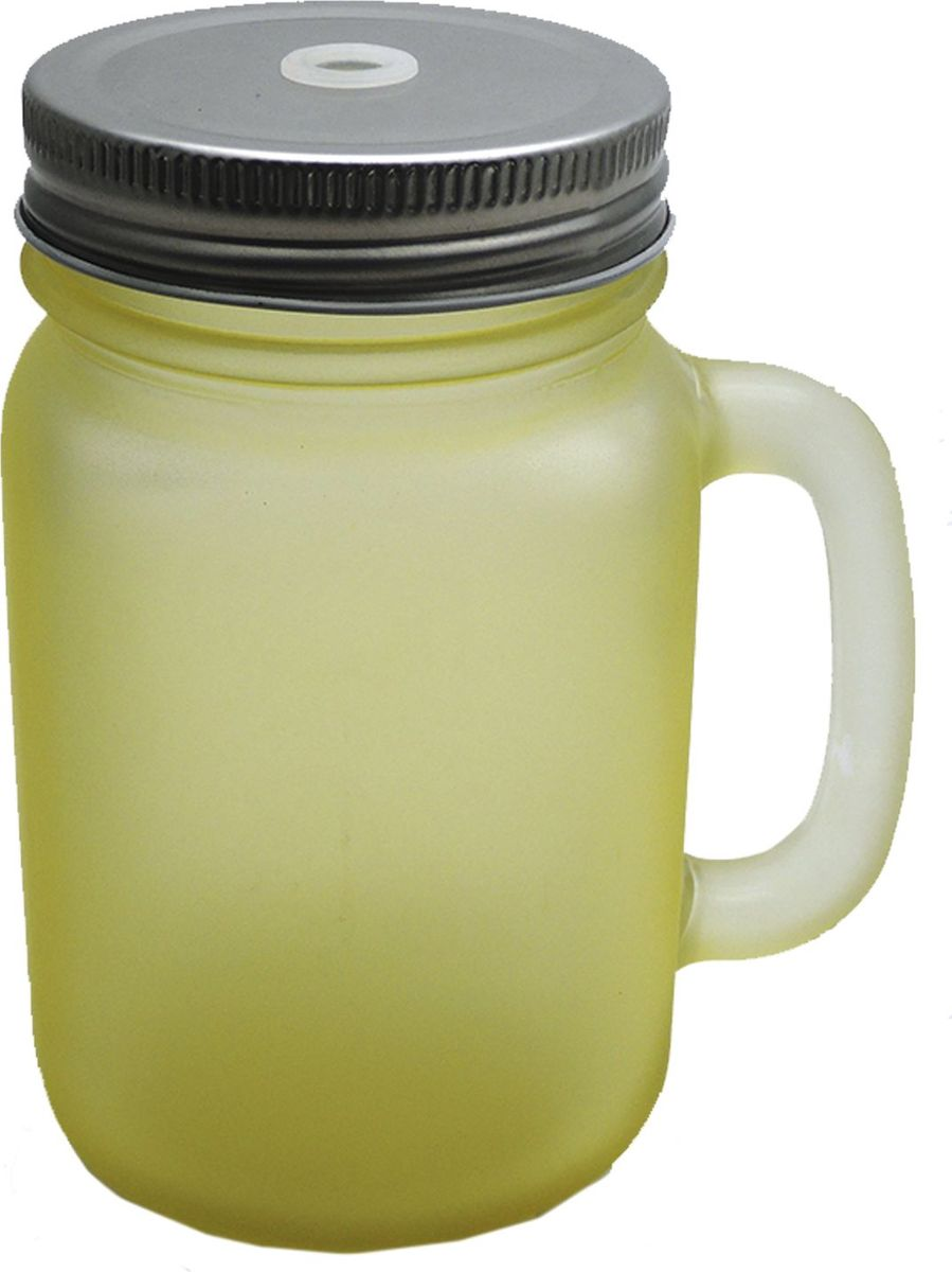 Кружка для холодных напитков, Матовая Желтая, из стекла с крышкой из луженой стали, 450мл. Хранить в сухом, защищенном от влаги месте. Не мыть в посудомоечной машине. Не использовать при мытье агрессивные моющие средства и жесткие губки.