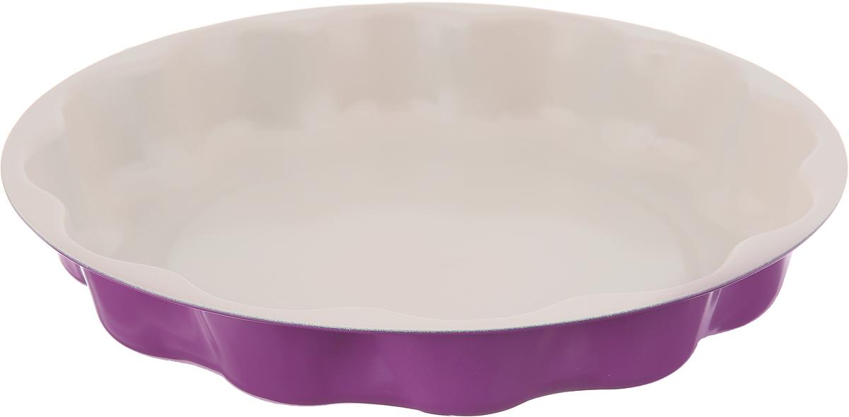 Форма для выпечки Доляна Волнистый круг. Флери, с керамическим покрытием, цвет: сиреневый, 25 х 4 см форма для выпечки доляна рифленый круг флери с керамическим покрытием цвет салатовый 27 х 3 5 см