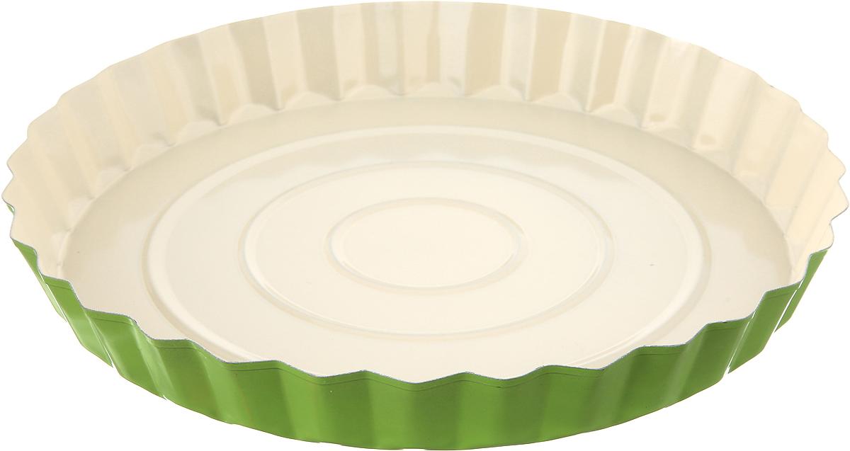"""Форма для выпечки Доляна """"Рифленый круг. Флери"""", с керамическим покрытием, цвет: салатовый, 27 х 3,5 см"""
