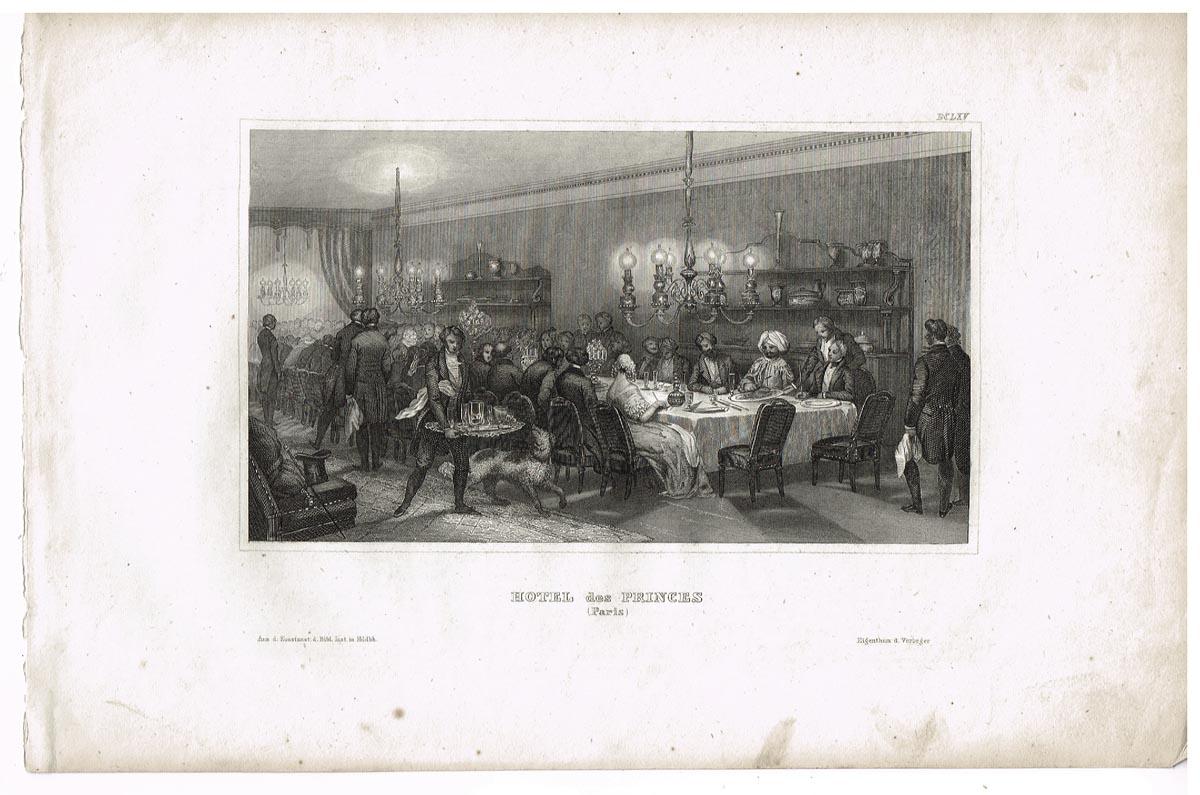 Вечер в парижском отеле (Hotel des Princes (Paris)). Гравюра, офорт. Германия, середина XIX века