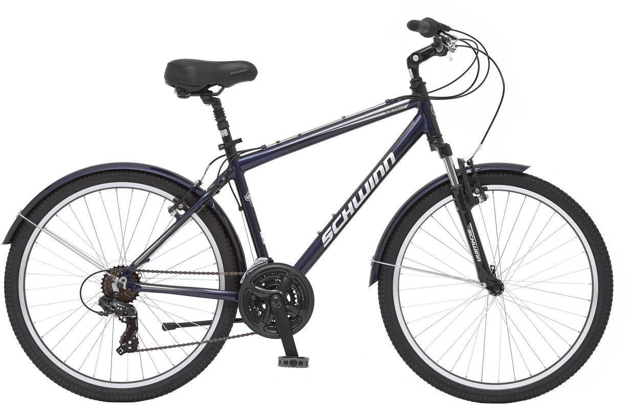 """Велосипед городской Schwinn Suburban Deluxe, цвет: синий, колесо 2638675149854Suburban Deluxe - это велосипед в котором каждая линия говорит о комфорте. Особая геометрия алюминиевой рамы подарит Вам незабываемые впечатления от управляемости при неспешном расслабленном катании. Амортизационная вилка и амортизационный подседельный штырь мягко гасят неровности дороги. Широкое седло в сочетании с регулируемым по наклону рулем помогут подобрать максимально комфортную посадку. Полноразмерные крылья и защита передних звезд помогают сохранить одежду в чистоте, даже в дождливую погоду. Переключатели передач от компании Shimano быстро и четко меняют 21 скорость. • Рама Schwinn Comfort Alloy • Амортизационная вилка • Переключатели Shimano, грипшифт • 21 скорость • Ободные тормоза • Колеса 26"""" • Полноразмерные крылья • Защита передней звезды • Быстросъемные колеса на эксцентриковых осях"""