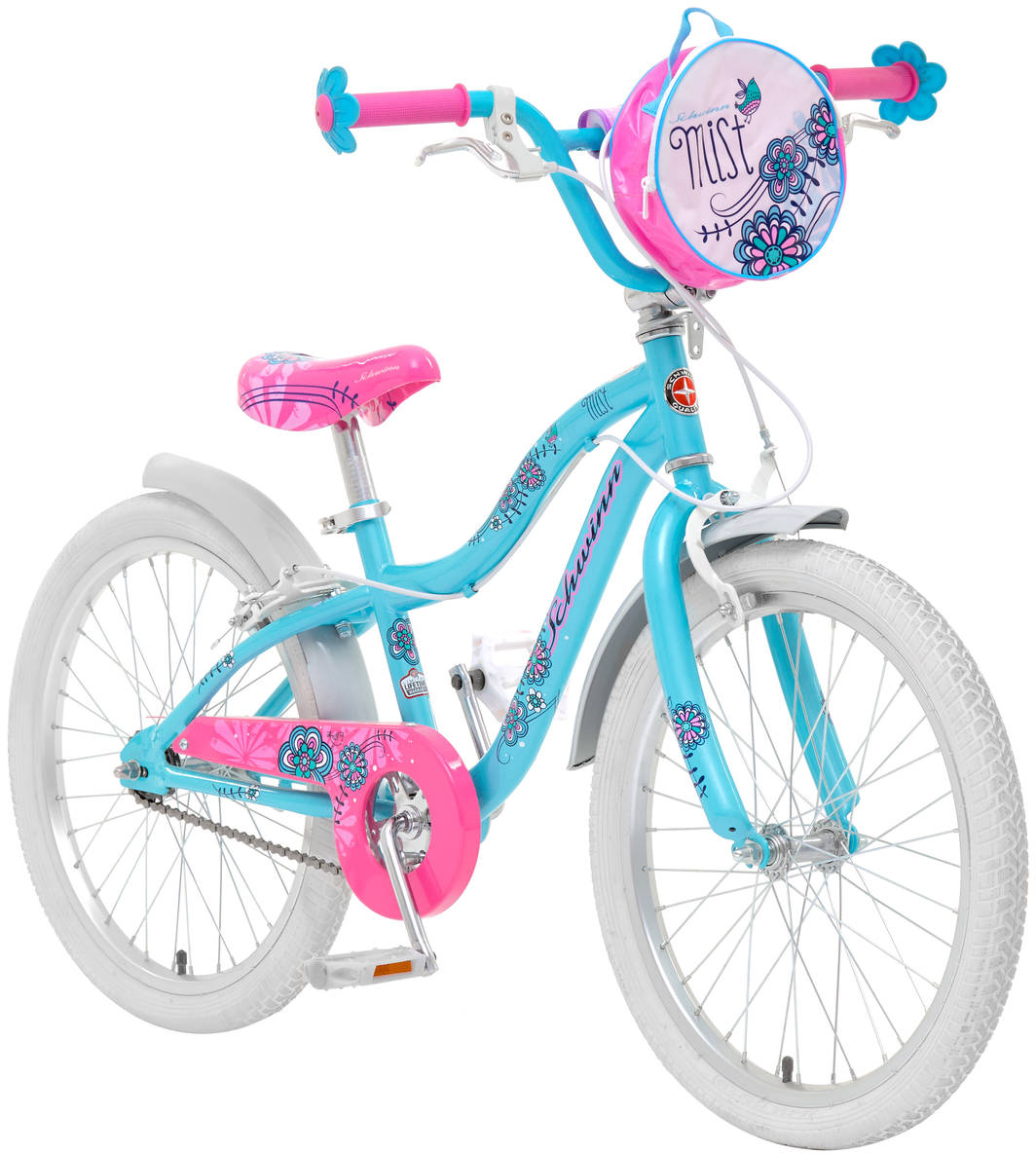 """Schwinn """"Mist"""" - это небесно-голубой цвет, розовое седло и ручки-цветочки, плюс сумочка   для кукол на руле. Все это создано для настоящих маленьких леди, которые уже стремятся   быть модными и женственными. Цветочки-ограничители на концах руля - это не просто   декоративный элемент, но и функциональная вещь, ведь ручки ребенка не соскочат при   неловком движении. Классические ободные тормоза надежны и проверены временем, они не подводят в   любую погоду. Защита приводной цепи спасет одежду ребенка от загрязнения.  Schwinn SmartStart - новая концепция в разработке детских велосипедов, учиться кататься   стало проще и веселее!  - Рама Schwinn Smart Start. - Надежные ободные тормоза. - Регулировка высоты седла без инструментов. - Регулировка руля по высоте и наклону. - Полноразмерная защита цепи. - Ограничители на концах руля. - Сумочка для кукол на руле. - Подножка в комплекте. - Колеса 20"""". - Велосипед для детей 6-9 лет. - Для роста 115-130 см.      Какой велосипед выбрать? Статья OZON Гид"""