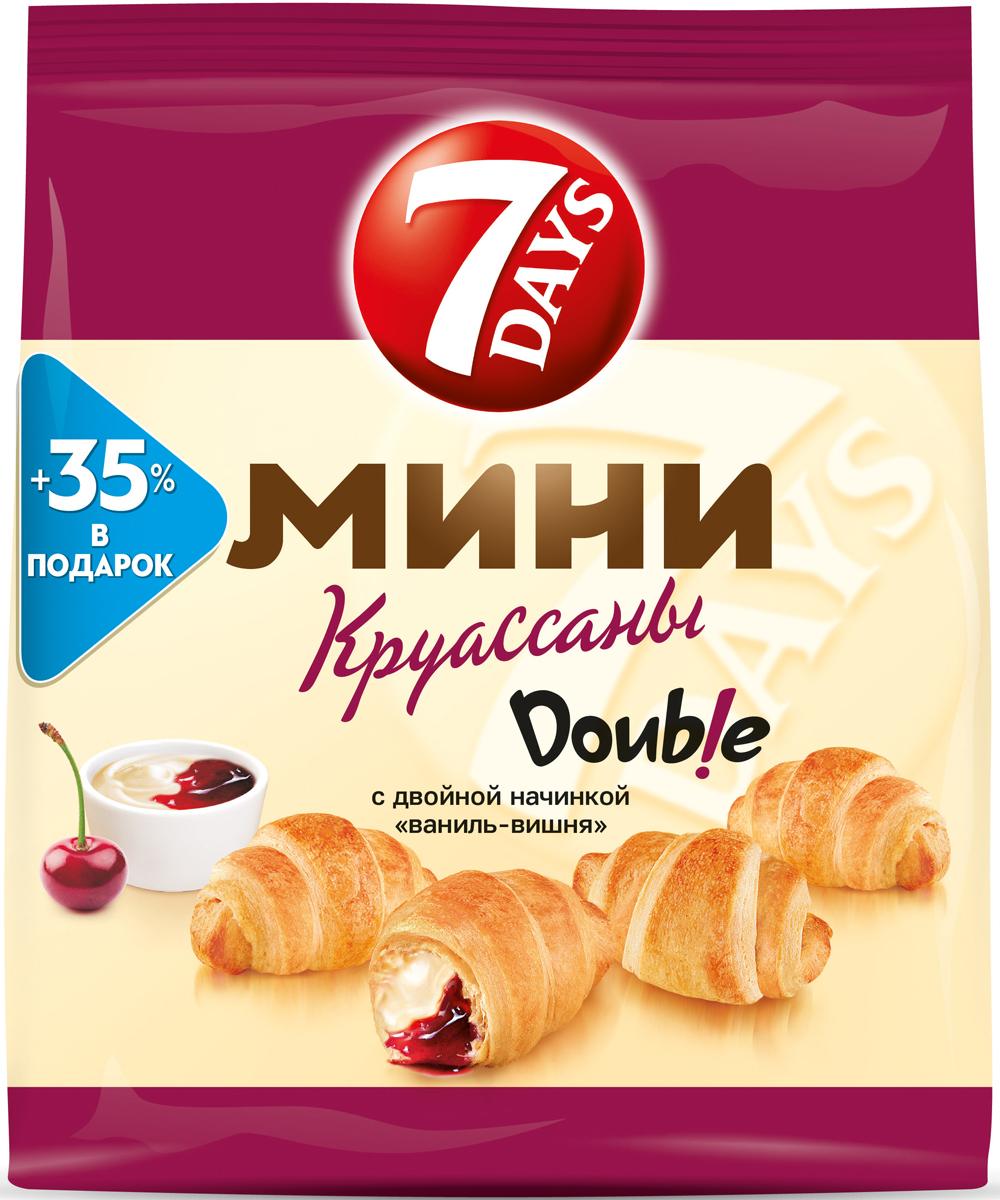 7DAYS Double! Мини-круассаны с двойной начинкой Ваниль-Вишня, 300 г mont blanc круассаны мини анжуйская клубника 200 г