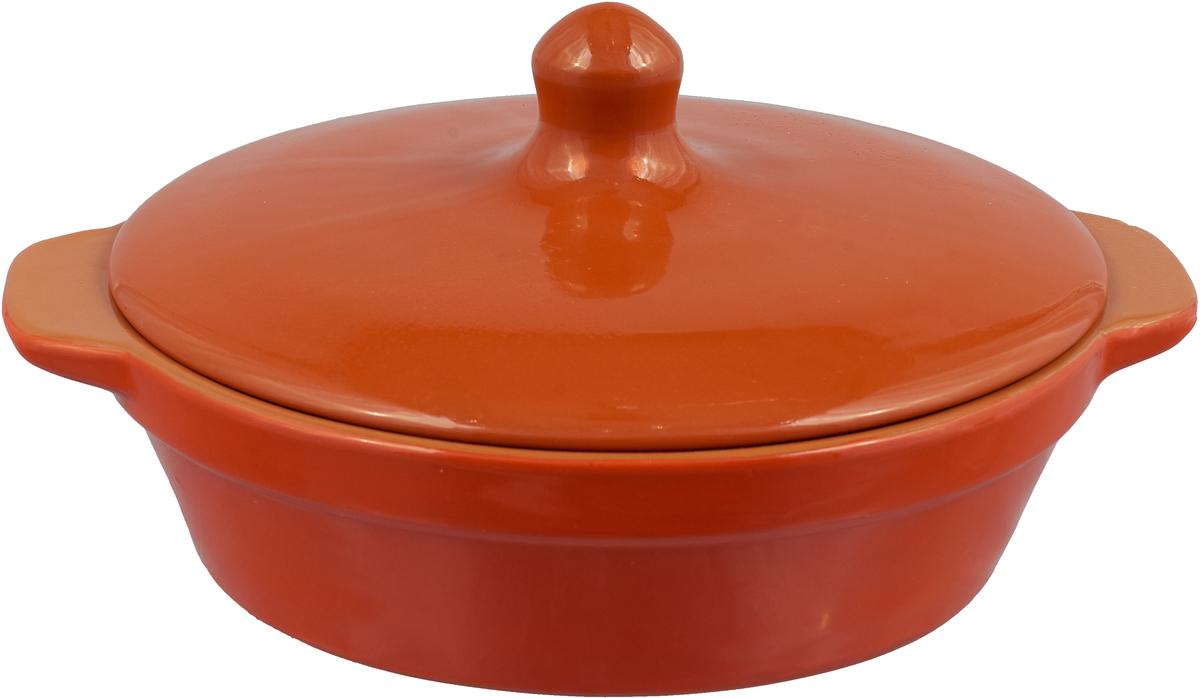 Сковорода Борисовская керамика Радуга с крышкой, цвет: оранжевый kosta урна с крышкой керамика