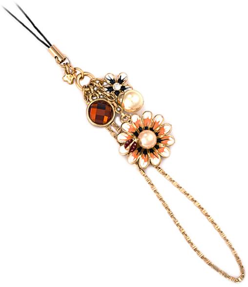 Цвет кристаллов: оранжевый, белый. Покрытие гальваническое - родий. Цвет покрытия: серебряный, эмаль. общая длина-120 мм, диаметр цветка 24 мм