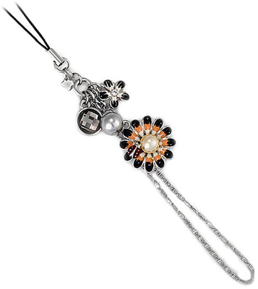 Брелок женский Ice&High, цвет: серебряный, белый. ZA888012RZA888012RЦвет кристаллов: темный, белый. Покрытие гальваническое - родий. Цвет покрытия: серебряный, эмаль. общая длина-120 мм, диаметр цветка 24 мм