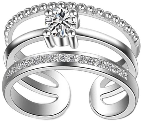 Кольцо женское Ice&High, цвет: серебряный, белый. ZR888361R