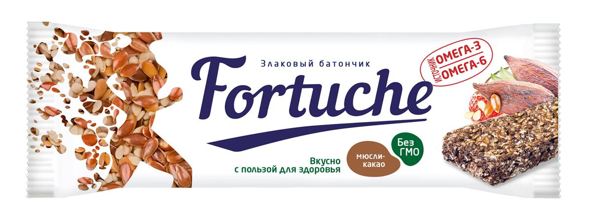 Батончик злаковый Fortuche, мюсли с какао, 25 г батончик злаковый fortuche мюсли с какао упаковка 30 шт х25гр