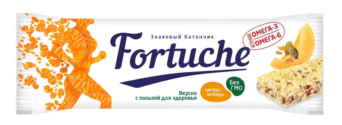 Батончик злаковый Fortuche, цитрусовый с имбирем, 25 г батончик злаковый fortuche мюсли с какао упаковка 30 шт х25гр