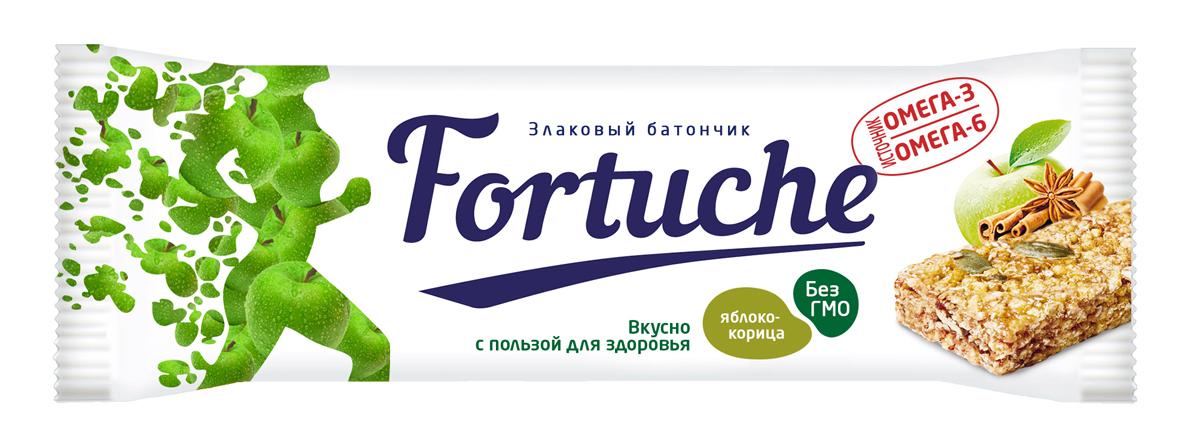 Батончик злаковый Fortuche, яблоко с корицей, 25 г батончик злаковый fortuche клубника с кокосом упаковка 30 шт х25гр