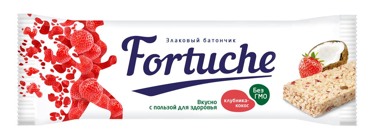 Батончик злаковый Fortuche, клубника с кокосом, 25 г батончик злаковый fortuche мюсли с какао упаковка 30 шт х25гр