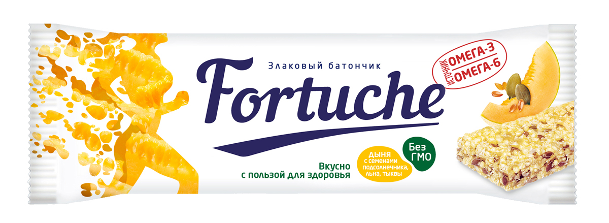 Батончик злаковый Fortuche, дыня с семенами подсолнечника, льна, тыквы, 25 г батончик злаковый fortuche мюсли с какао упаковка 30 шт х25гр