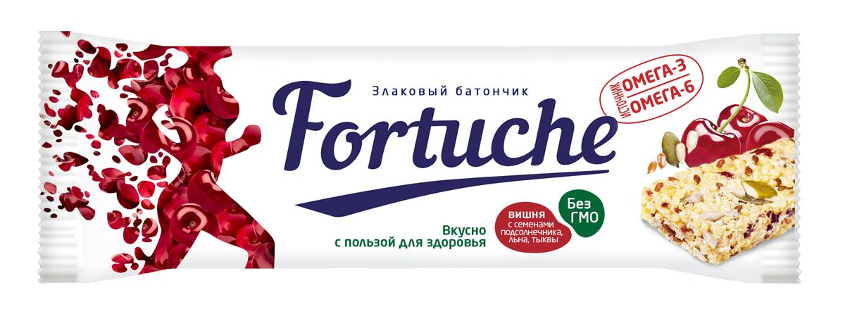 Батончик злаковый Fortuche, вишня с семенами подсолнечника, льна, тыквы, 25 г батончик злаковый fortuche клубника с кокосом упаковка 30 шт х25гр