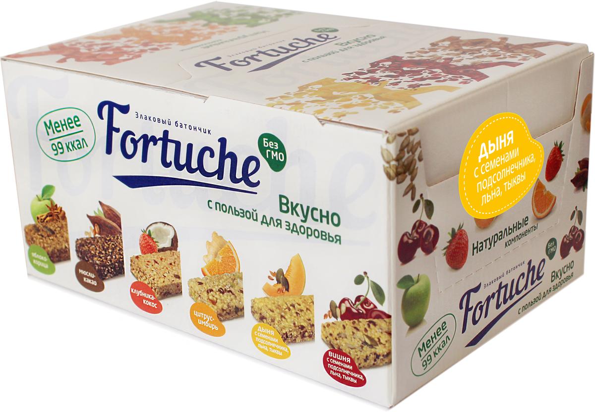 Батончик злаковый Fortuche, дыня с семенами подсолнечника, льна, тыквы, 30 шт по 25 г