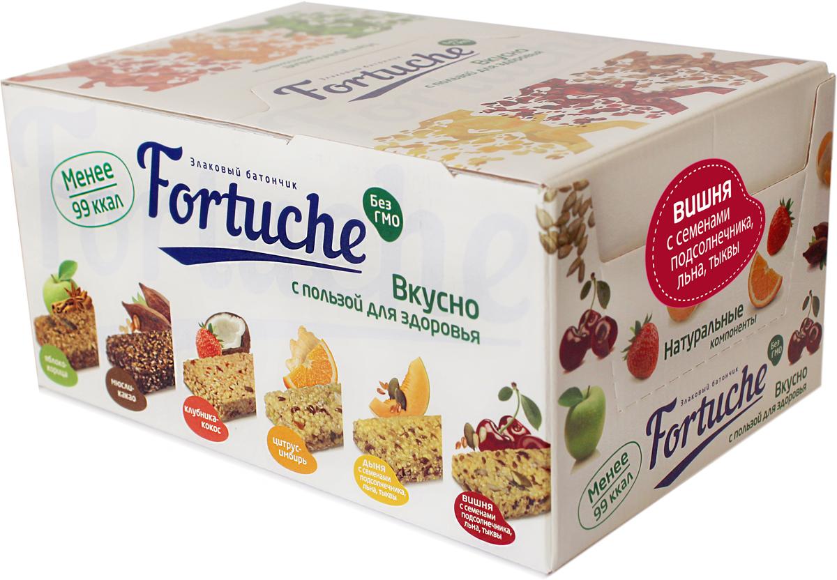 Батончик злаковый Fortuche, вишня с семенами подсолнечника, льна, тыквы, 30 шт по 25 гЯБ024214Батончик с содержанием полезных злаков, ягод, фруктов и семян. Натуральные компоненты. БЕЗ ГМО.Состав: экструдированные злаки (крупа кукурузная, сахар, глюкоза, сухое молоко, соль, сода пищевая, ванилин), патока, финиковая паста, семена подсолнечника, овсяные отруби, семена льна, сушёная вишня, влагоудерживающий агент – глицерин, вода, смесь растительных жиров, семена тыквы, эмульгатор – соевый лецитин, регулятор кислотности – лимонная кислота, антиокислители (аскорбиновая кислота, смесь токоферолов), ароматизатор. Пищевая ценность в 100 г: белки – 5,0 г; жиры – 10,0 г; углеводы – 66,0 г. Энергетическая ценность в 100 г: 380 ккал/1590 кДж.