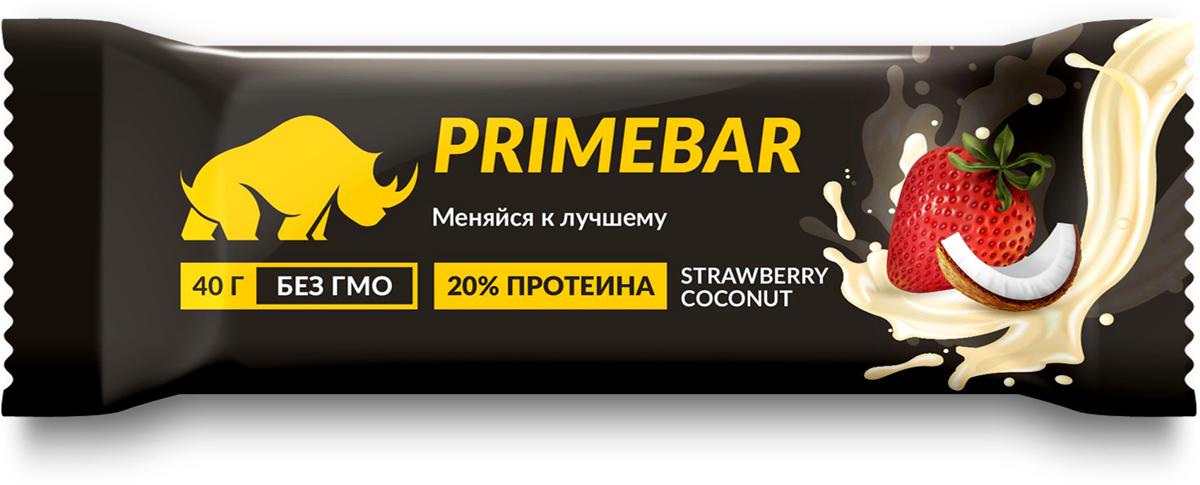 Батончик протеиновый Prime Kraft Primebar, со вкусом клубники и кокоса, 40 г протеин prime kraft whey банановый йогурт 900 г